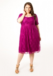 PRE ORDER: Kara Lace Dress - Magenta