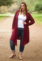PRE ORDER: Ribbed Hooded Duster - Burgundy