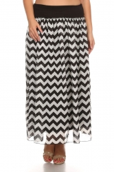 PRE ORDER: Printed Stretch Waist Chiffon Maxi Skirt -Black White