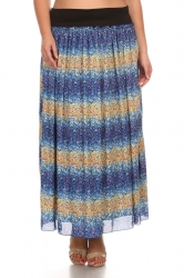 PRE ORDER: Printed Stretch Waist Chiffon Maxi Skirt -Blue Yellow
