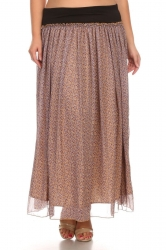 PRE ORDER: Printed Stretch Waist Chiffon Maxi Skirt-SmallFlowers