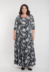PRE ORDER: Daphne Maxi Dress - Black and White Floral