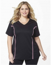 PRE ORDER: Plus Size AirLight Sport Tee - Black with Pink Stripe