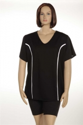PRE ORDER: Plus Size AirLight Sport Tee - Black with White Strip