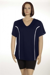 PRE ORDER: Plus Size AirLight Sport Tee - Navy with White Stripe