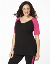 PRE ORDER: Plus Size Baseball Shirt - Black/Crayon Pink Sleeves