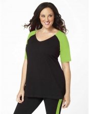 PRE ORDER: Plus Size Baseball Shirt - Black/Apple Green Sleeves