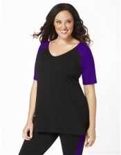 PRE ORDER: Plus Size Baseball Shirt - Black/Purple Sleeves