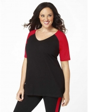 PRE ORDER: Plus Size Baseball Shirt - Black/Red Sleeves