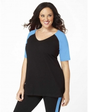 PRE ORDER: Plus Size Baseball Shirt - Black/Turquoise Sleev