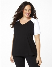 PRE ORDER: Plus Size Baseball Shirt - Black/White Sleeves