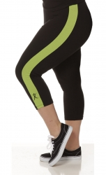 PRE ORDER: Plus Size Capri Pants - Black with Apple Green Stripe