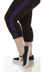 PRE ORDER: Plus Size Capri Pants - Black with Purple Stripes