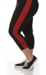 PRE ORDER: Plus Size Capri Pants - Black with Red Stripes