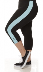 PRE ORDER: Plus Size Capri Pants - Black with Turquoise Stripes
