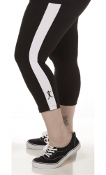 PRE ORDER: Plus Size Capri Pants - Black with White Stripes