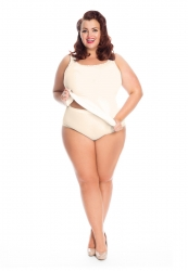 PRE ORDER: Plus Size Lace Edged Knickers - Natural