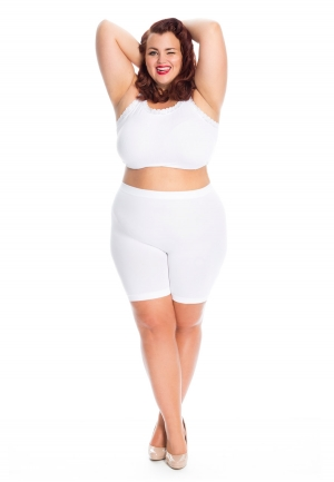 PRE ORDER: Plus Size Anti Chafing Short Leg Knickers - White
