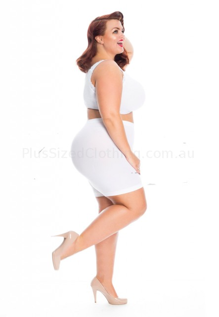 PRE ORDER: Plus Size Anti Chafing Short Leg Knickers - White_1 (click to Enlarge)