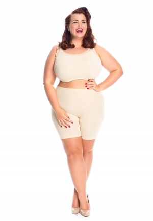 PRE ORDER: Plus Size Anti Chafing Short Leg Knickers - Natural