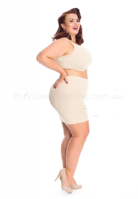 PRE ORDER: Plus Size Anti Chafing Short Leg Knickers - Natural_1 (click to Enlarge)