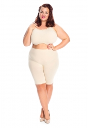 PRE ORDER: Plus Size Anti Chafing Long Leg Knickers - Natural