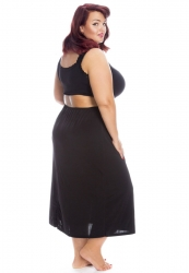 PRE ORDER: Plus Size Silk Satin Waist Slips - Black