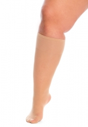 PRE ORDER: Plus Size Super Wide 120 Denier Knee Highs - Natural