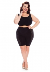 PRE ORDER: Plus Size Aztec Anti Chafing Slip Shorts - Black