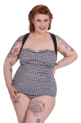PRE ORDER: Elsie 50s Swimsuit - Black and White