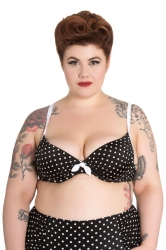 PRE ORDER: Misty Bikini Top - Black and White Polka Dot