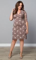 PRE ORDER: Scalloped Boudoir Lace Dress - Cafe
