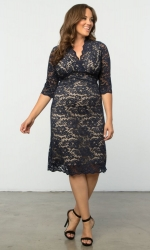 PRE ORDER: Scalloped Boudoir Lace Dress - Navy & Nude