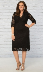 PRE ORDER: Scalloped Boudoir Lace Dress - Black & Black