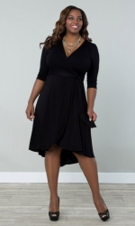 PRE ORDER: Winona Hi-Lo Wrap Dress - Black Noir