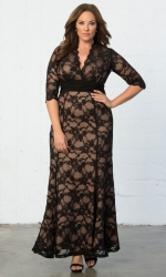 PRE ORDER: Screen Siren Lace Gown - Black & Nude