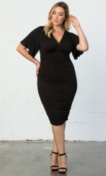 PRE ORDER: Rumor Ruched Dress - Black Noir