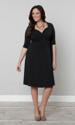 PRE ORDER: Sweetheart Knit Wrap Dress - Black Noir