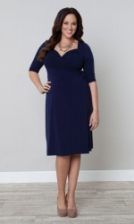 PRE ORDER: Sweetheart Knit Wrap Dress - Dark Sky Navy