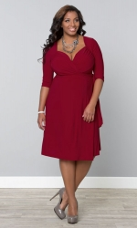 PRE ORDER: Sweetheart Knit Wrap Dress - Ruby Rendezvous