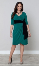 PRE ORDER: Harlow Faux Wrap Dress - Jade & Black