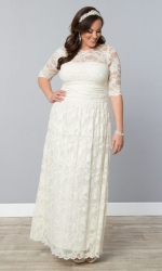 PRE ORDER: Lace Illusion Wedding Gown - Ivory