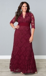 PRE ORDER: Screen Siren Lace Gown - Rose Wine