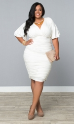 PRE ORDER: Rumor Ruched Dress - Ivory