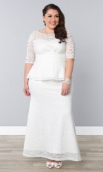 PRE ORDER: Poised Peplum Wedding Gown - Ivory