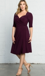 PRE ORDER: Sweetheart Knit Wrap Dress - Plum