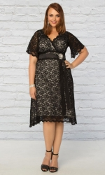 PRE ORDER: Retro Glam Lace Dress - Black & Ivory