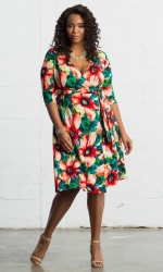 PRE ORDER: All Work and Play Wrap Dress - Tropical Bloom Print