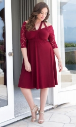 PRE ORDER: Luring Lace Dress - Ruby