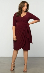 PRE ORDER: Harlow Faux Wrap Dress - Merlot